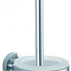 Evoke Toilet Brush Holder with Tempered Frosted Glass - Chrome