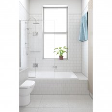 Alto Bath Screen - Single Fixed with Hinged Panel
