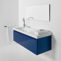 Wall-Hung Straight Top 1300 Vanity, 2 Drawer with Grandangolo Ceramic Basin