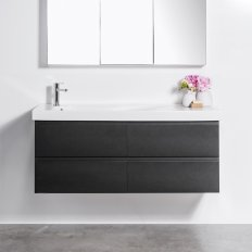 Wall-Hung Straight Top 1300 Vanity, 4 Drawer with Grandangolo Ceramic Basin