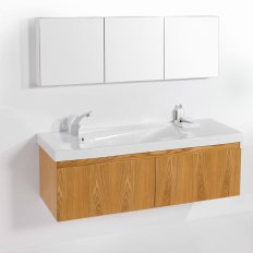 Wall-Hung Straight Top 1500 Vanity, 2 Drawer with Grandangolo Ceramic Basin