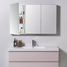 Mirror Unit 1200 - 3 Door, 4 Glass Shelves