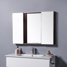 Mirror Unit 900 - 2 Doors, 4 Glass Shelves