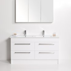 Zara 1500 Floor Standing Vanity, 4 Drawers, Double Bowl