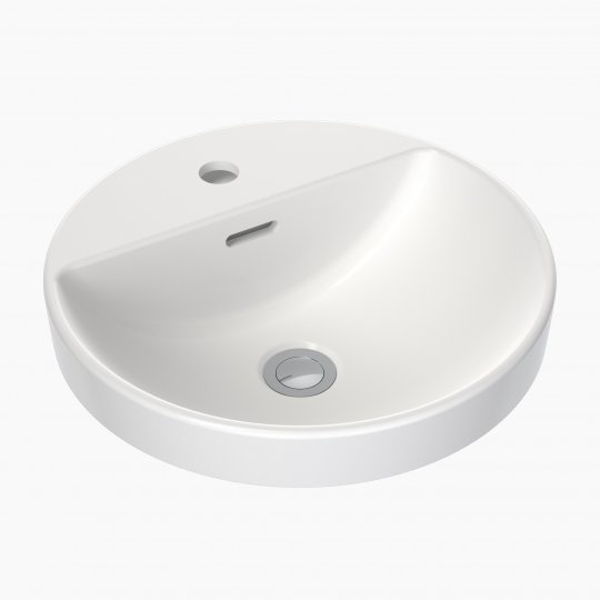 Round Inset Basin with Tap Landing 400mm (1 Tap Hole with Overflow)