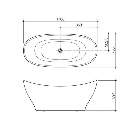 Cupid 1700 freestanding bath for Freestanding bath sizes