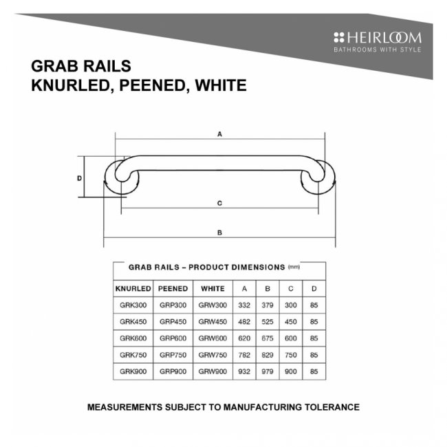 Sentinel Grab Rail White 600