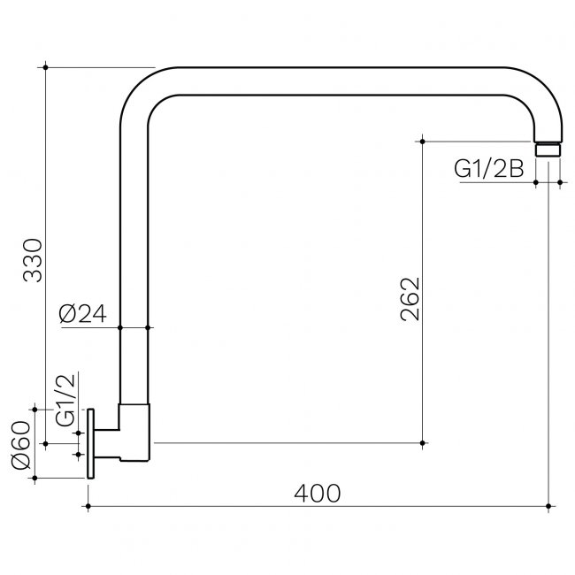 Upswept Wall Arm 400mm