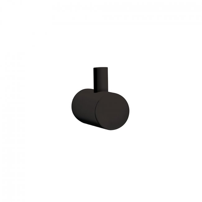 Round Single Robe Hook - Black