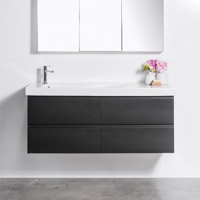 Wall-Hung Straight Top 1500 Vanity, 4 Drawer with Grandangolo Ceramic Basin