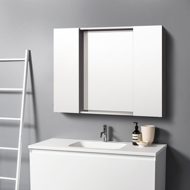 Mirror Unit 1200 - 2 Doors, 4 Glass Shelves