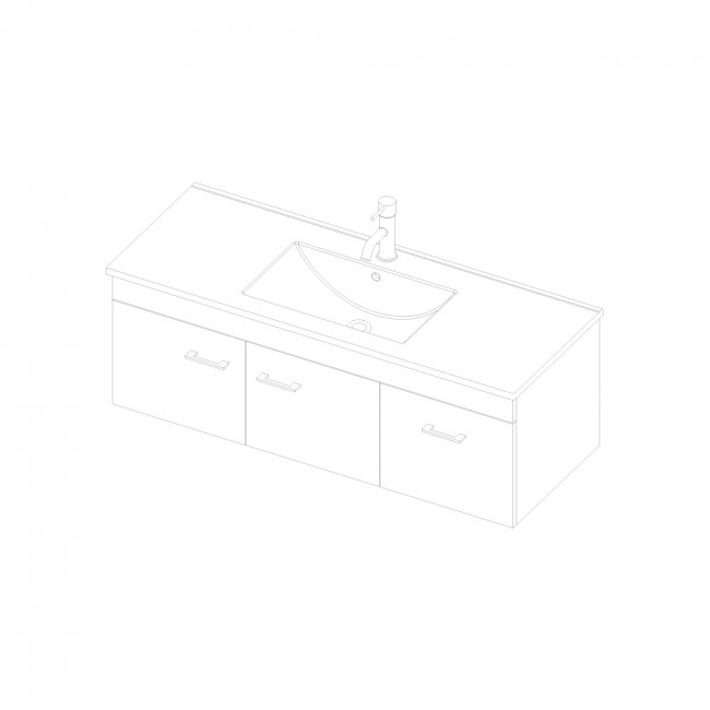 Riva Wall 1200 2 Doors, 1 Drawer