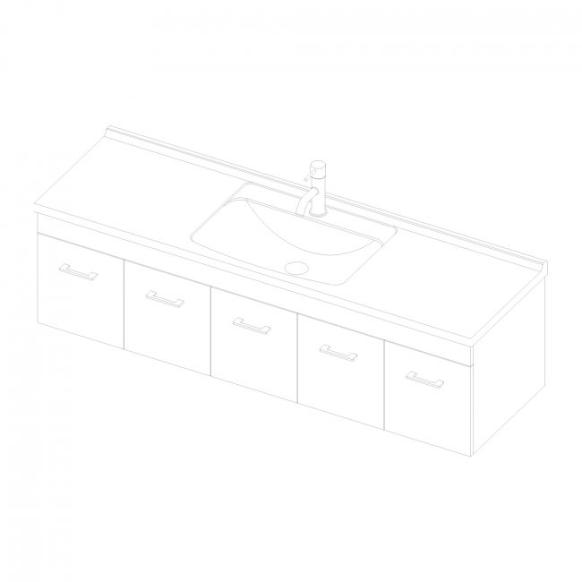 Riva Wall 1500 3 Doors, 2 Drawers
