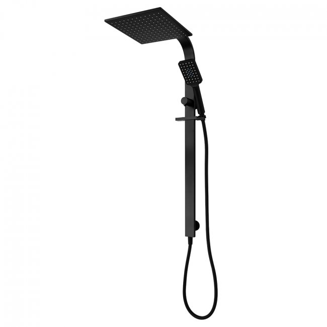 Eclipse Square Double Head Slide Shower - Black