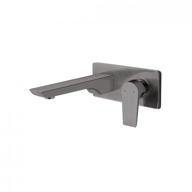 Olympia Wall Mounted Basin Mixer - Brushed Gunmetal