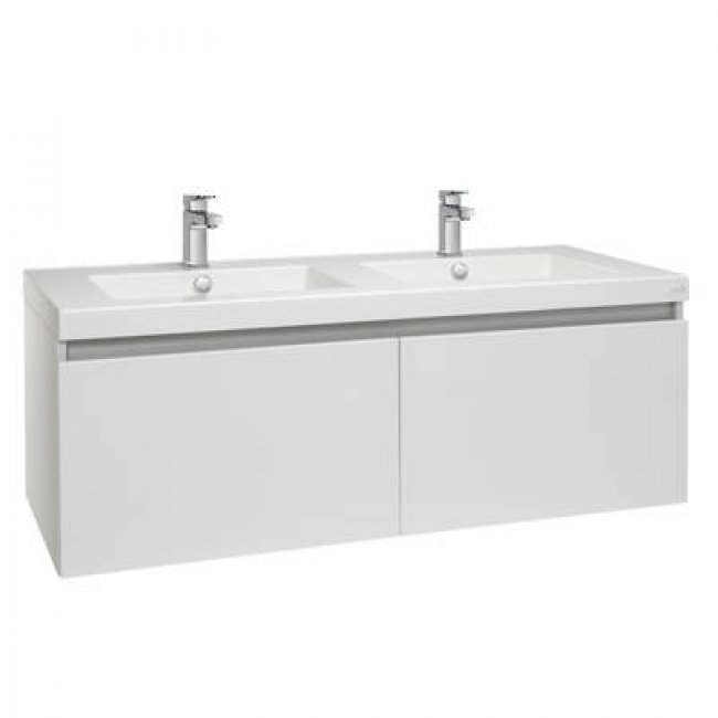 Valencia Wall Hung Vanity, Twin Single Drawer, Double Bowl, 1200mm