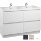 Valencia Floor Standing Vanity, Four Drawers, Double Bowl, 1200mm