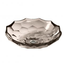 Kohler Briolette Faceted Glass Vessel Basin - Translucent Doe