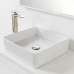 Sleek Ceramic Square Counter Top Basin