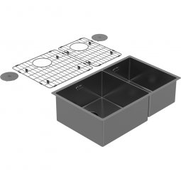 Zomodo PearlArc Double Bowl 60/40 (Double Sink & Grid Left Hand) - Black Pearl