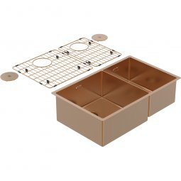 Zomodo PearlArc Double Bowl 60/40 (Double Sink & Grid Left Hand) - Rio Bronze