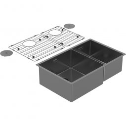 Zomodo PearlArc Double Bowl 60/40 (Double Sink & Grid Left Hand) - Sonic Grey