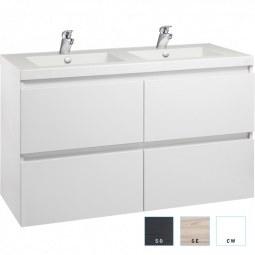 Valencia Wall Hung Vanity, Four Drawers, Double Bowl, 1200mm