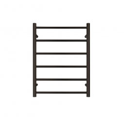 Jersey Round Heated Towel Rail 6 Bar - Black