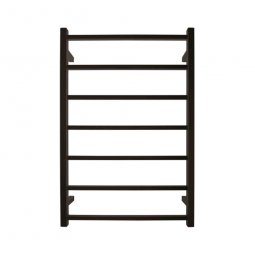 Jersey Square Heated Towel Rail 7 Bar - Black