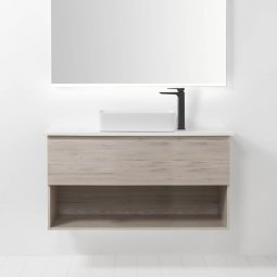 Soft Solid Surface 1200 Wall-Hung Vanity, 1 Drawer, 1 Open Shelf