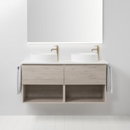Soft Solid Surface 1300 Wall-Hung Vanity, 2 Drawers, 2 Open Shelves, Double Bowl