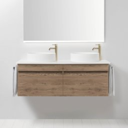 Soft Solid Surface 1300 Wall-Hung Vanity, 2 Drawers, Double Bowl