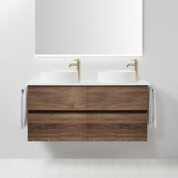 Soft Solid Surface 1300 Wall-Hung Vanity, 4 Drawers, Double Bowl