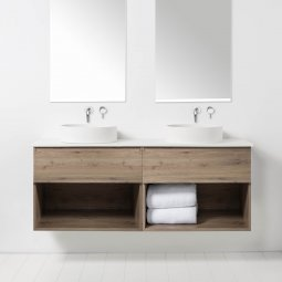 Soft Solid Surface 1550 Wall-Hung Vanity, 2 Drawers, 2 Open Shelves, Double Bowl