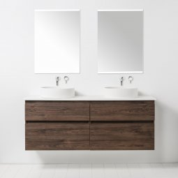 Soft Solid Surface 1550 Wall-Hung Vanity, 4 Drawers, Double Bowl