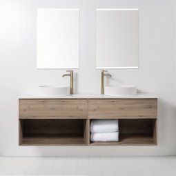 Soft Solid Surface 1760 Wall-Hung Vanity, 2 Drawers, 2 Open Shelves, Double Bowl