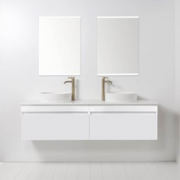 Soft Solid Surface 1760 Wall-Hung Vanity, 2 Drawers, Double Bowl