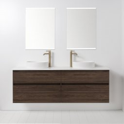 Soft Solid Surface 1760 Wall-Hung Vanity, 4 Drawers, Double Bowl