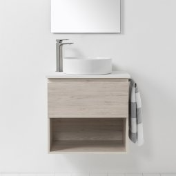 VCBC Soft Solid Surface 650 Wall-Hung Vanity, 1 Drawer, 1 Open Shelf