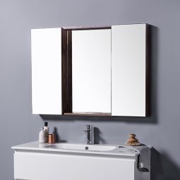 Mirror Unit 1000 - 2 Doors, 4 Glass Shelves
