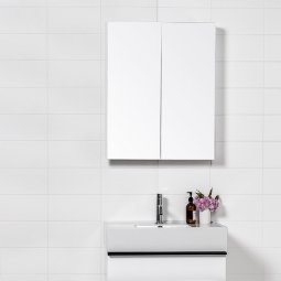 Mirror Unit 600 - 2 Doors, 2 Glass Shelves