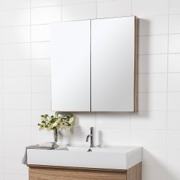 Mirror Unit 750 - 2 Doors, 2 Glass Shelves