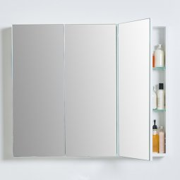 Mirror Unit 900 - 3 Doors, 4 Glass Shelves
