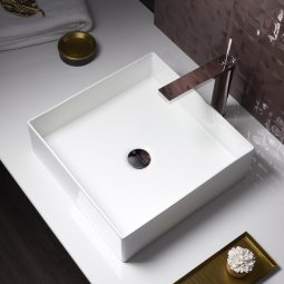Mica Square Slim Rim Basin - White