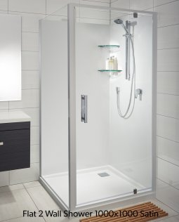 Soul Acrylic Flat Wall Showers  - Corner Waste, White