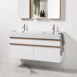 Twenty 1210 Wall-Hung Vanity, 4 Drawers, Double Bowl