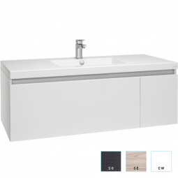 Valencia Wall Hung Vanity, Single Drawer and Cupboard, Single Bowl, 1200mm