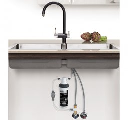 Quick Twist Undersink Water Filter using Ultra Z Filtration Technology with Tripla BL1 Black Mixer Tap
