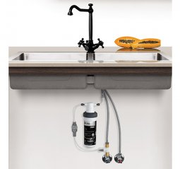 Quick Twist Undersink Water Filter using Ultra Z Filtration Technology with Tripla BL3 LED Black Mixer Tap