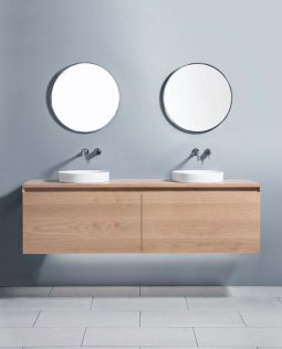 Zero 1800 Wall-Hung Vanity, Double Bowl, 2 Drawers (Side-by-Side) + 2 Concealed Drawers